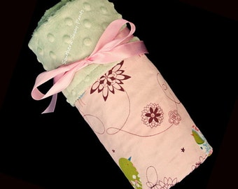 Baby Girl Blanket, Alexander Henry Pink Starlings and Minky Dot for Baby Girls - Personalized Baby Blanket - LIMITED but still available