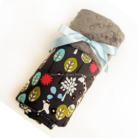 Baby Boy Blanket , Gray Minky Dot and Giraffe Garden Cotton - In Stock and Ready To Ship , ON SALE