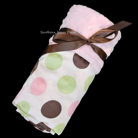 Satin Baby Girl Blanket -  Pink Minky Dot and Polkadot Satin Baby Blanket - In Stock and Ready To Ship