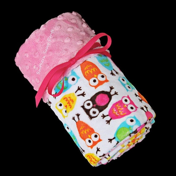 Owl Blanket for Baby Girl - Pink Minky Dot  - Security Blankie Size - In Stock and Ready To Ship , ON SALE