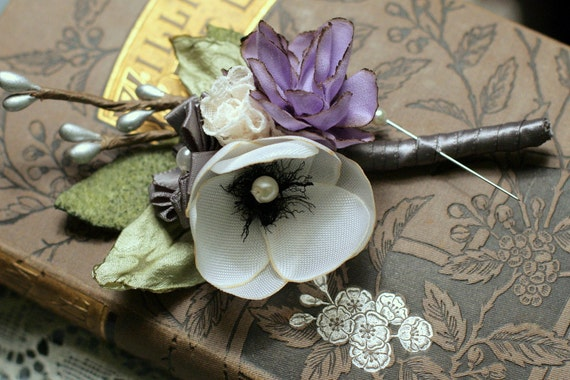 Mini Anemone and Rose Boutonnieres Set of 2
