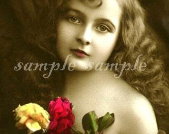 no520 VINTAGE photo DIGITAL DOWNLOAD Printable - Edwardian Antique Photograph - Victorian Beautiful Little Girl