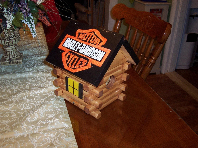 Harley Davidson Log: Harley Davidson Log Cabin Birdhouse