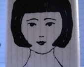 chinese girl woman head rubber stamp