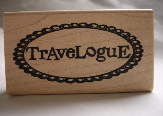 travelogue journal label rubber stamp