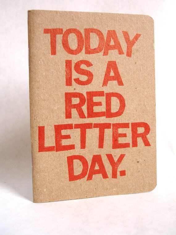 Red Letter Day notebook sketchbook planner journal by jotjoy