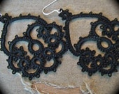Tatted Lace Earrings - Scallop - Black