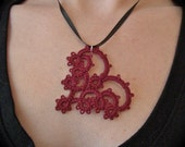 Tatted Lace Pendant -  With All My Heart - Red