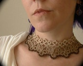 Tatted Studded Lace Choker - The Other Woman -Sepia Edition