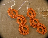 Last Day SALE - Tatted Lace Earrings - Journey - Autumn Shades - Harvest Orange