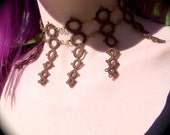 SteamPunk Clockhands - Tatted Choker Necklace