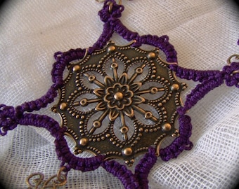 Tatted Necklace - Copper Princess in Purple