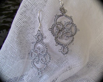 Tatted Lace Earrings - Victoriana - Silver