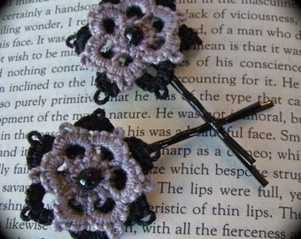 Tatted Flower Bobbies - Black and Gray