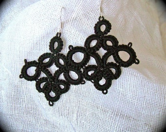 Tatted Lace Earrings - Tenebrous Simple