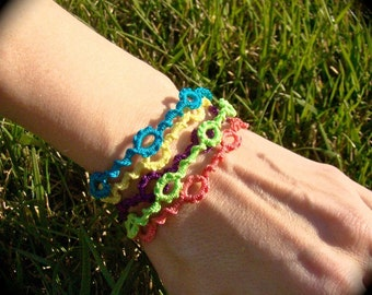 Tatted Lace Bracelet - Neon Spring Colors