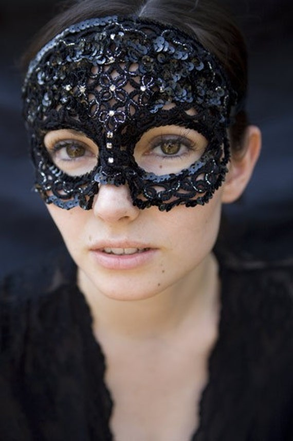 women's tatted lace masquerade mask in black sequins and swarovski crystals