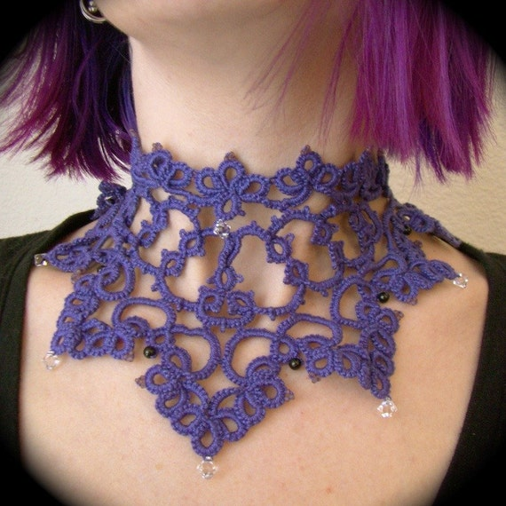 Tatted Lace Collar Necklace -The Victorious Royal - OOAK