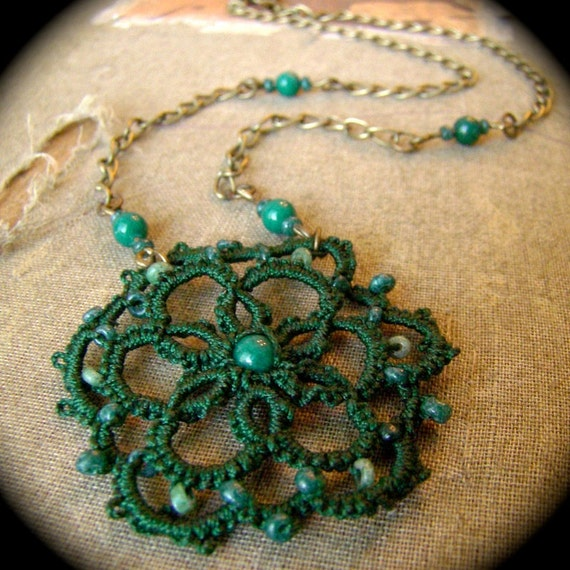 Evergreen - Tatted One Of A Kind Necklace