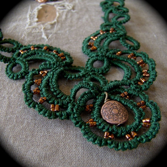 Tatted Lace Necklace - Trailing Scrolls - Forest Green and Copper