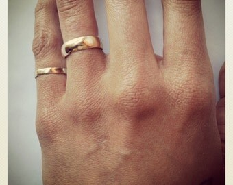 14k gold wedding set, 6mm and 3.5mm tall bands