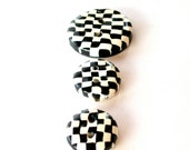 Checkmate Set of 3 Handmade Checkered Buttons