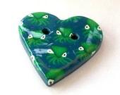Octopus Love Handmade Polymer Clay Button