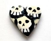 Death's Head Heart-Shaped Skull Button