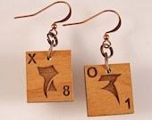 Klingon Scrabble Earrings - Choose your letters
