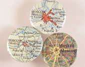 Moscow Map Pinback Buttons