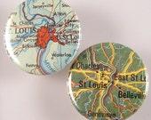 St Louis Map Pinback Buttons