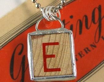 Red Letter E Pendant Necklace
