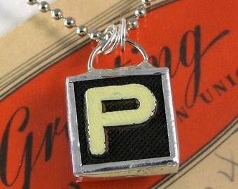 Letter P Initial Pendant Necklace