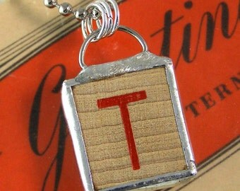 Red Letter T Pendant Necklace