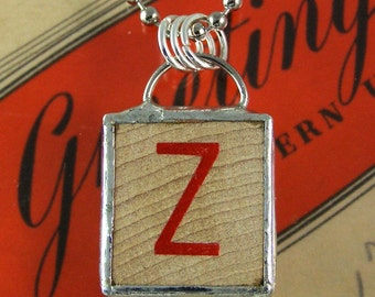 Red Letter Z Pendant Necklace