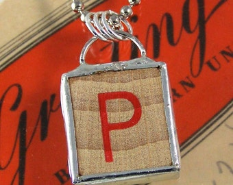 Red Letter P Pendant Necklace