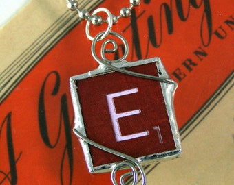 Red Scrabble Letter E Pendant Necklace