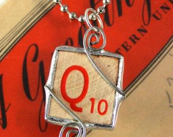 Red Letter Q Scrabble Pendant Necklace