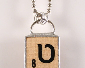 Hebrew Scrabble Letter Pendant Necklace