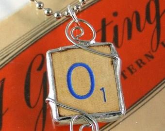 Blue Letter O Scrabble Pendant Necklace