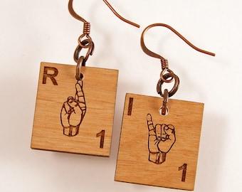 ASL Scrabble Earrings - Choose your letters