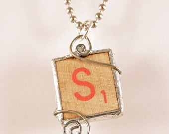 Red Letter S Scrabble Pendant Necklace