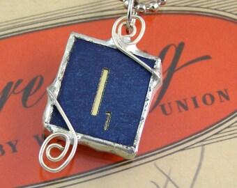 Blue Letter I Scrabble Pendant Necklace