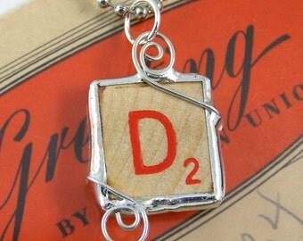 Red Letter D Scrabble Pendant Necklace