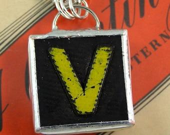 Letter V Initial Pendant Necklace