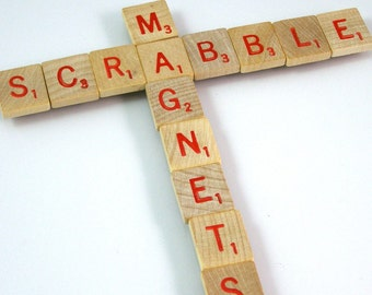 Red Letter Scrabble Magnets - Choose your letters and quantity