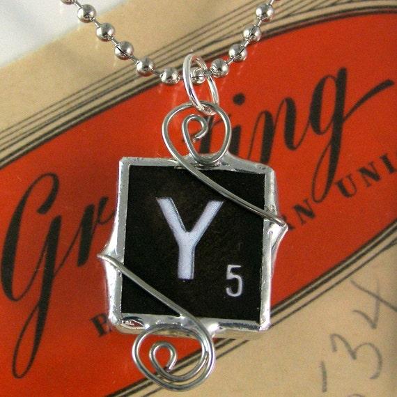 Scrabble Letter Y Pendant Necklace