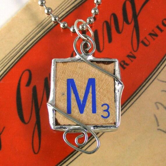 Blue Letter M Scrabble Pendant