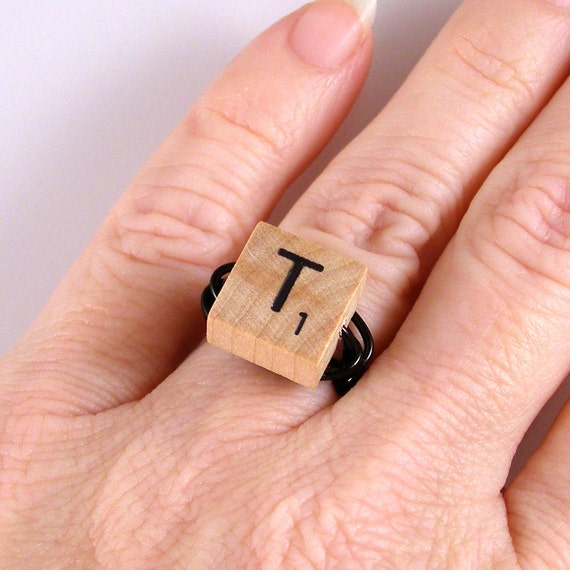 Scrabble letter ring choose your letter by xohandworks on etsy for Letter e ring