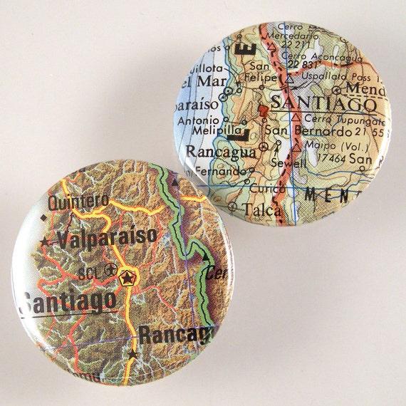 Santiago Map Pinback Buttons